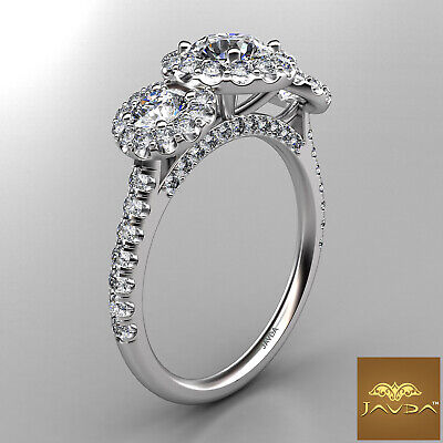 Halo 3 Stone Micro Pave Round Diamond  Engagement Ring GIA D VS2 Clarity 1.50Ct 2
