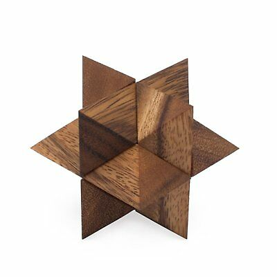 Star Puzzle: Wooden Brain Puzzle in Star Shape - 3D Brain Teaser for Adults - Wooden Star Puzzle