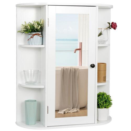 Bathroom Cabinet, Single Door Wall Mount Medicine Cabinet with Mirror White Bath