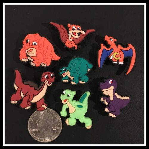 Set of 7 Shoe Charms for Crocs THE LAND BEFORE TIME Ducky Cera Spike Littlefoot