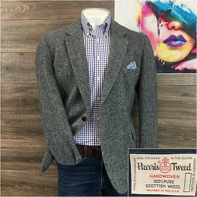 Vintage Harris Tweed Sport Coat Blazer Jacket Wool Mens Size 44R Two Button 0