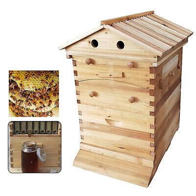 Bee Hive House Auto Honey Frames Beehive Beekeeping Brood 7pcs Wooden Box Kit
