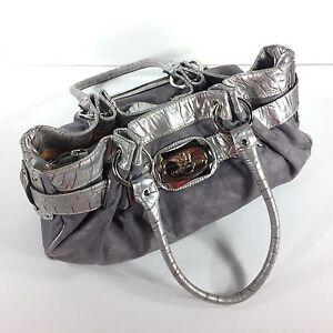 Kathy-Van-Zeeland-Designer-Handbag-Satchel-Bag-Purse-Silver-Gray-Vegan
