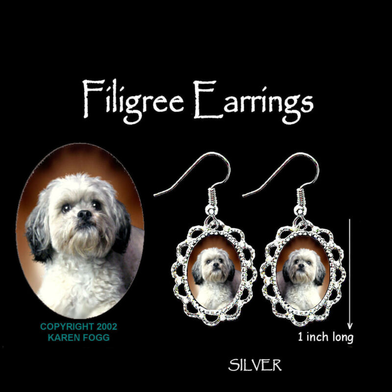 LHASA APSO DOG Sweet Face - SILVER FILIGREE EARRINGS Jewelry