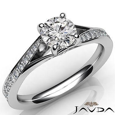 Micro Pave Set Split Shank Round Shape Diamond Engagement Ring GIA E SI1 0.85Ct