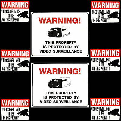 Security Cameras In Use Signs And Window Warning Stickers Lot