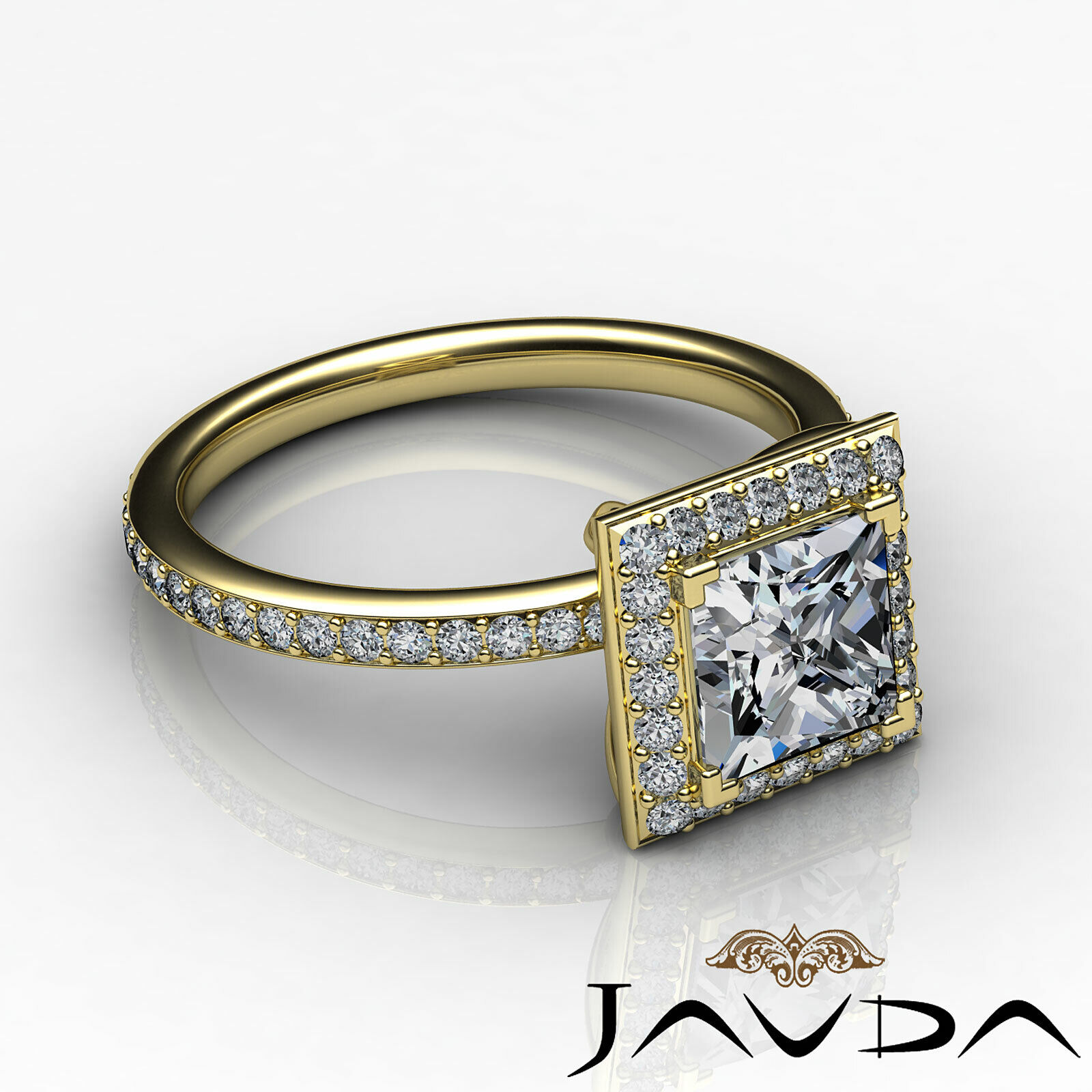 Halo Pave Set Princess Cut Diamond Engagement Ring GIA G Color VS1 Clarity 2.5Ct 9