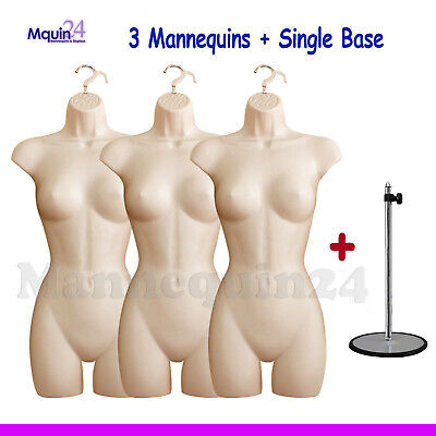 3 Pack Mannequin Torsos 3 Hangers 1 Stand - 3 Flesh Female Dress Forms