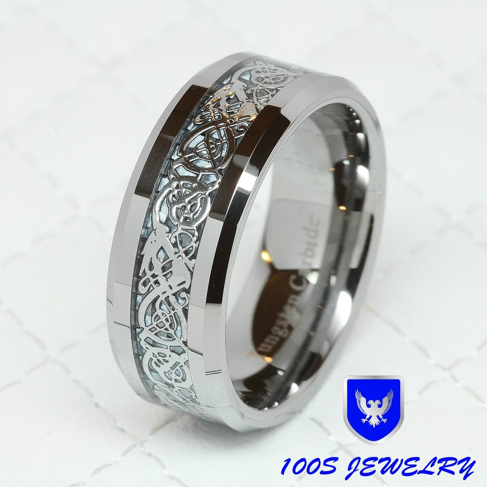 8MM Tungsten Carbide Silver Celtic Dragon Inlay Mens Ring Wedding