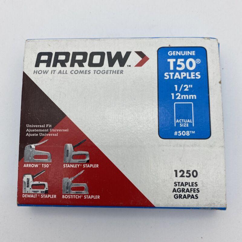 "Arrow Fastener 508 Genuine T50 1/2-Inch Staples, 1250-Pack, Heavy Duty 1/2"" #508"