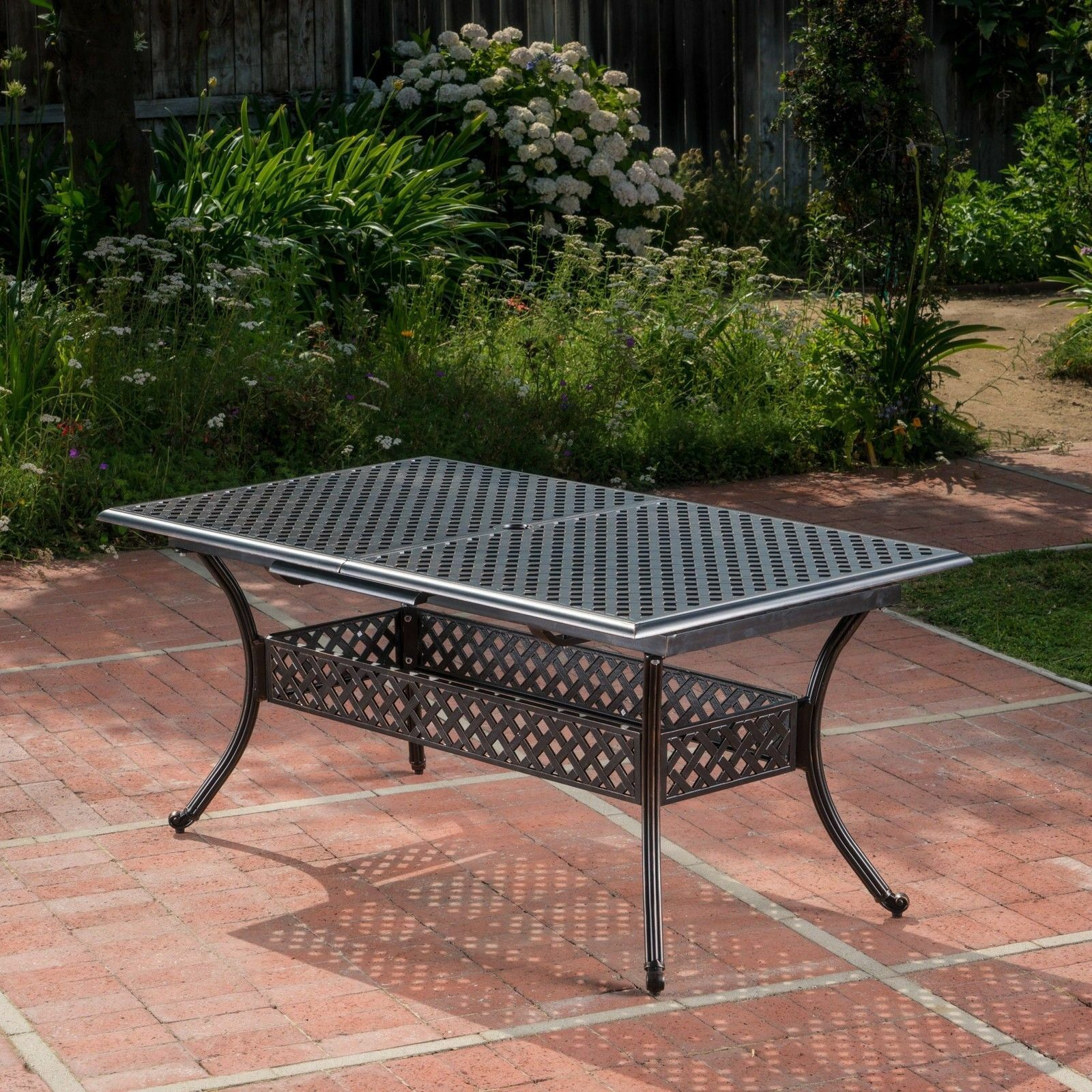 Ariel Outdoor Patina Copper Finish Expandable Dining Table Home & Garden