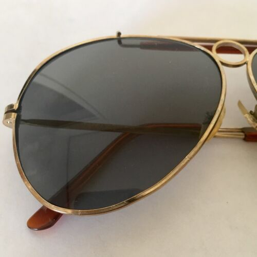 Vintage Aviator Sunglasses Gold Frame Gray Lense 1970s Taiwan ROC Brown Bridge