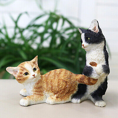 Realistic Orange Tabby Cat with Black White Kitten Resin Statues Decor Figure