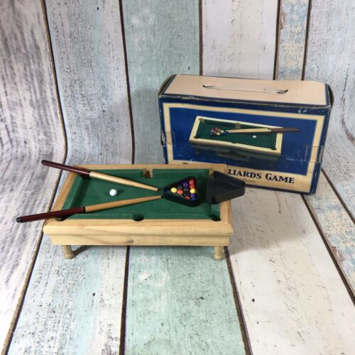 MINI DESKTOP BILLIARDS SNOOKER POOL WOODEN TABLE 16 BALLS 2 CUES