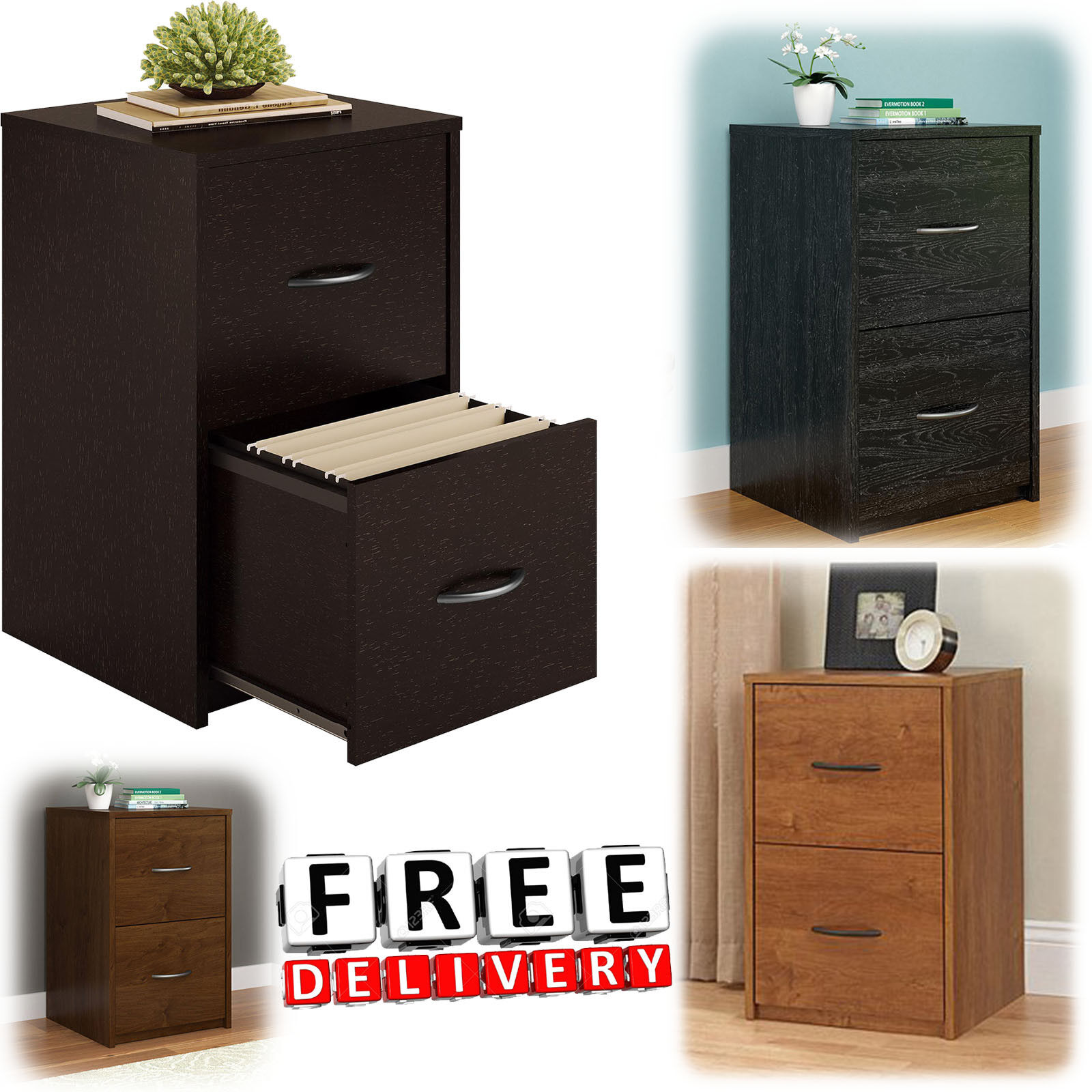 Drawer Lateral Wood File Cabinet Brown