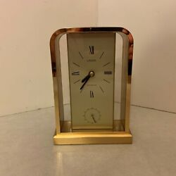 Linden Mantle Clock - Brass Gold Finish - Westminster Chime at Top of Hour