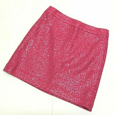 Ann Taylor Loft Pink Wool Blend Mini Skirt A Line Sequin Sparkle Womens Size -