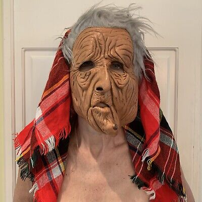 Extremely RARE VTG 1982 Be Something Studios Mask  OLD WOMAN / WITCH Halloween