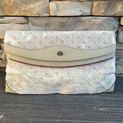 Vintage Gucci Accessory White Clutch Bag with Tags and Serial Number 1980s 100%
