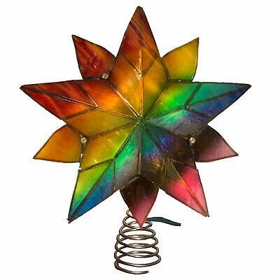 """8"""" Kurt Adler Lighted Up LED Rainbow Pride Capiz Christmas Tree Topper Star"""