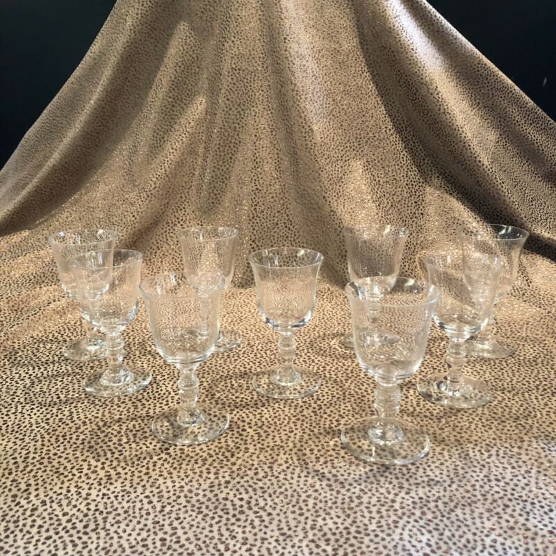 Set of Nine (9) Baccarat Clear Crystal Glass Stemmed Cordials