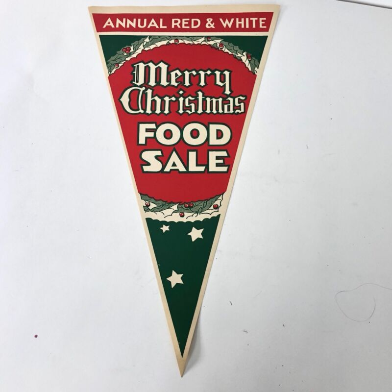 Antique Merry Christmas Grocery Store Foid Sale Paper Banner Triangles NOS