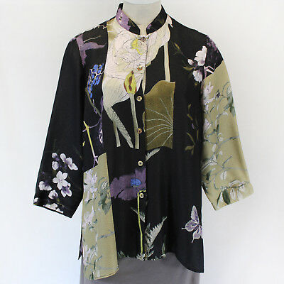 Citron Clothing Japanese Art Flowers Butterflies Silk Blend Blouse Plus 1X - Butterflies Clothing