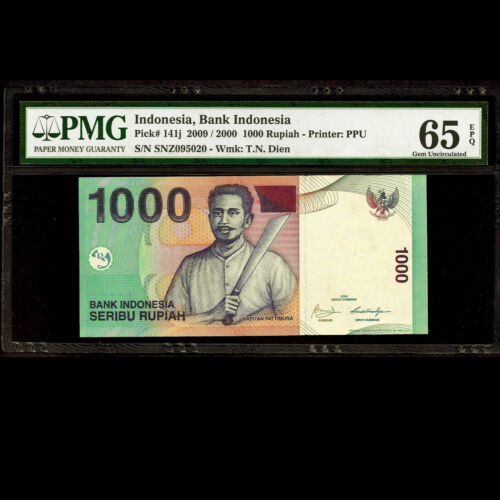 Bank Indonesia 1000 Seribu Rupiah 2009 PMG 65 EPQ GEM UNC P-141ji