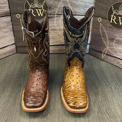 MEN'S BROWN OSTRICH QUILL LEATHER WESTERN RODEO EXOTIC COWBOY SQUARE TOE -