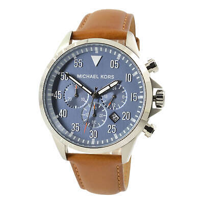 Michael Kors Men's Watch Gage Chronograph Blue Dial Brown Leather Strap MK8490
