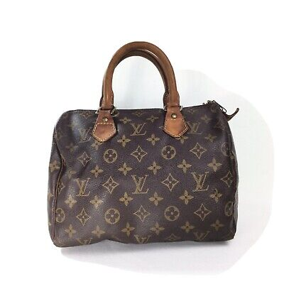 VINTAGE Louis Vuitton SPEEDY 25 Monogram Canvas Cowhide Leather
