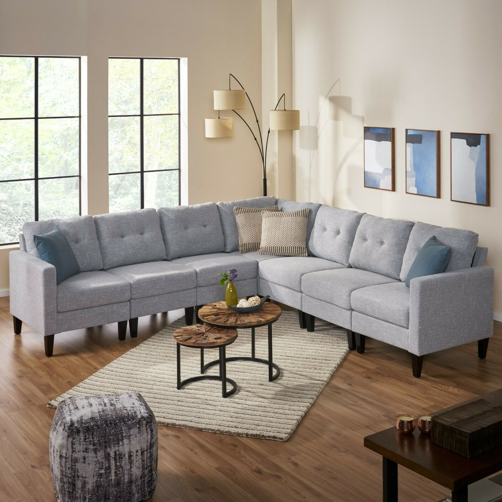 Marsh Mid Century Modern Extended Sectional Sofa Set Furniture