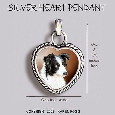 Border Collie Black And White - BORDER COLLIE DOG Black and White - Ornate HEART PENDANT Tibetan Silver