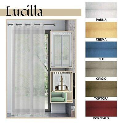 Tenda arredo trasparente per finestra e porta finestra 6 colori mod. LUCILLA