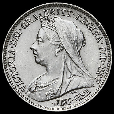 1899 Queen Victoria Veiled Head Silver Sixpence – A/UNC #2