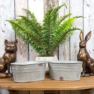2 x 19cm Oval Galvanised Metal Plant Pots Troughs Flower Window Box Planters