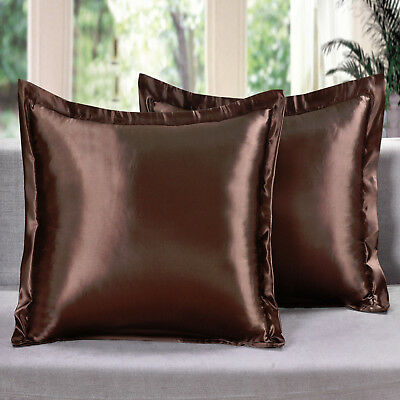 2 Piece Satin Euro Shams Solid Brown Cover Case Decorative P
