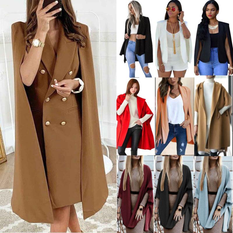 Women's Business Cape Poncho Cape Jacket Wool Coat Casual Bl