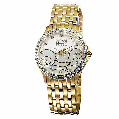 Women's Burgi BUR081YG Swiss Diamond MOP Wave Pattern Gold-tone Bracelet Watch