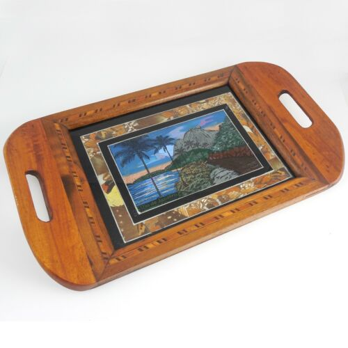 """Antique """"Butterfly Wing"""" Reverse Painting Wood Tray—Souvenir of Rio de Janeiro"""