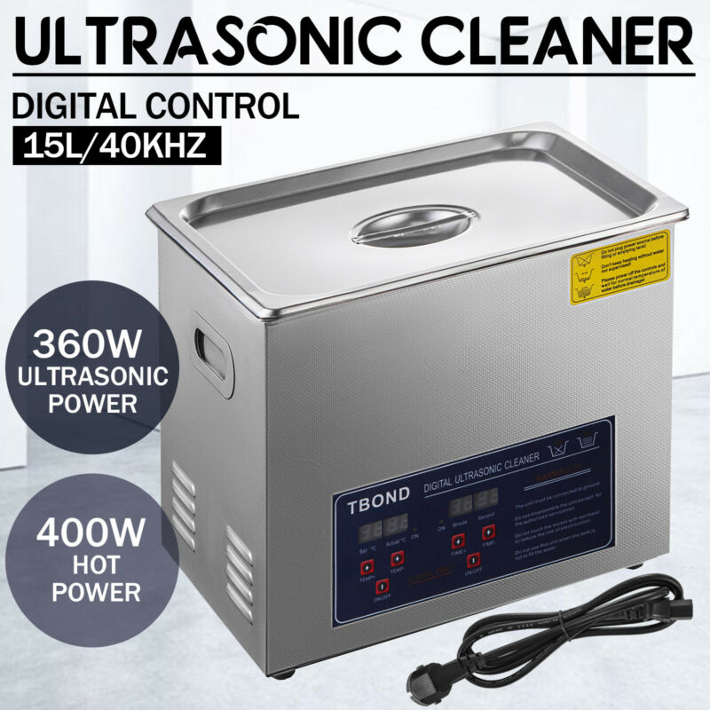 Commercial 15L Ultrasonic Cleaner Cleaning Machine Industry Heated w/ Timer
