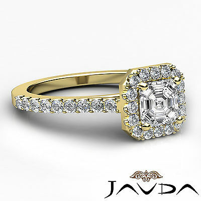 Asscher Diamond Engagement GIA H VS2 Shared Prong Set Ring 18k Yellow Gold 1Ct 2
