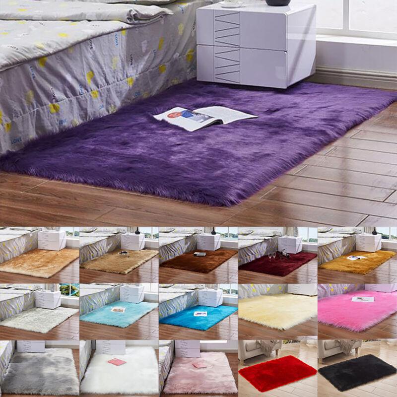Large Fluffy Rug Anti-Skid Rug Carpet Living Room Bedroom Ho