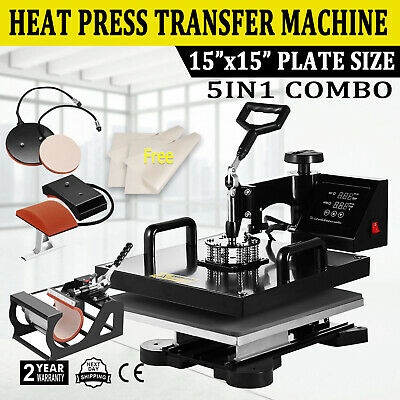 "Combo T-Shirt Heat Press Transfer 15""x15"" Printing Machine Swing Away 5IN1 Hat"