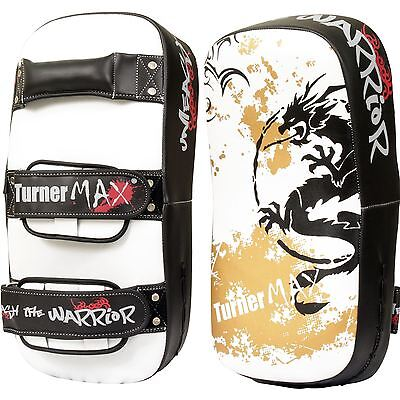 Turnermax Thai Kick Pad Boxing Punching White Black Curved Single