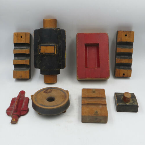 Vintage Wooden Foundry Mold Pieces Construction Steampunk Lot of 8 pieces