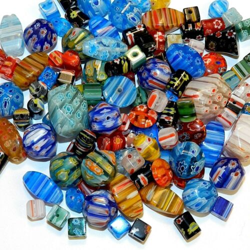 GL4443 Assorted Color Mixed Shape 4mm - 20mm Millefiori Flower Glass Beads 4oz