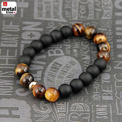 Men's Hip Hop Tiger's Eye Stone Gems Beads Elastic Stretch Wrist Bracelet KDB036