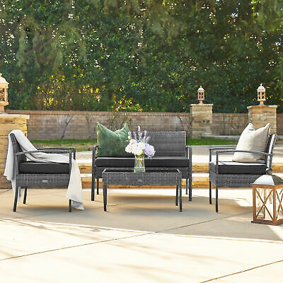 Garden Furniture - Patio Wicker Furniture Outdoor 4Pcs Rattan Sofa Garden Conversation Set, Gray