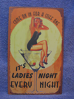 Ladies Night Decorations (Ladies Night - Every Night Tin Metal Sign Decor Funny NEW Martini)